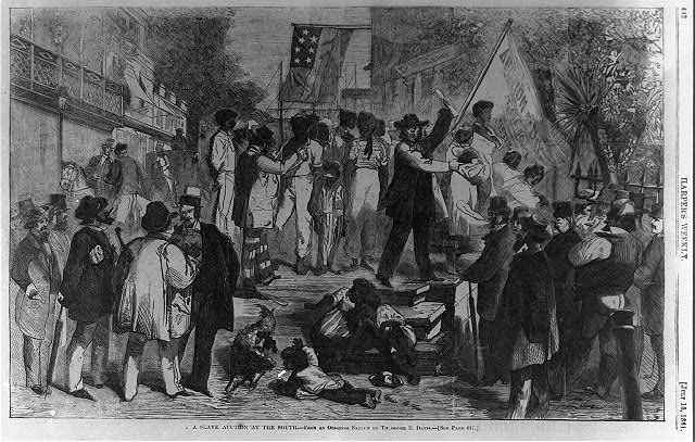 A slave auction at the south